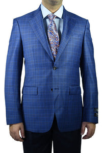 "Berragamo ""Fancy"" New Blue Windowpane Blazer"
