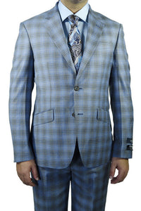 Berragamo Blue Grey Plaid Slim Fit Suit
