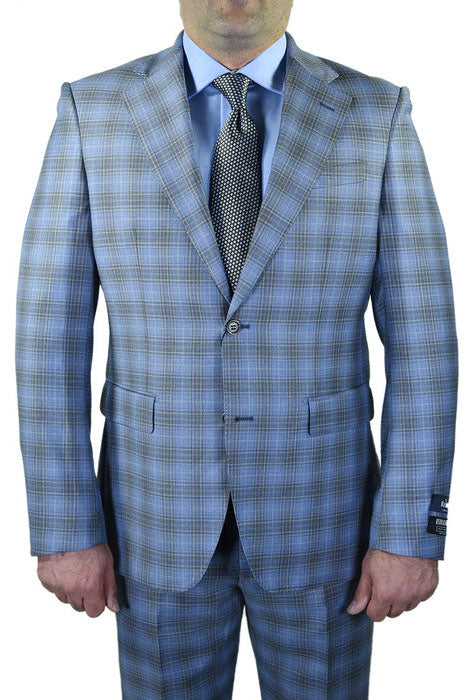 Berragamo Light Blue Plaid Slim Fit Suit
