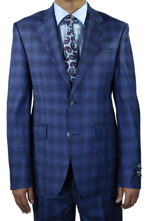 Berragamo New Blue Plaid Slim Fit Suit