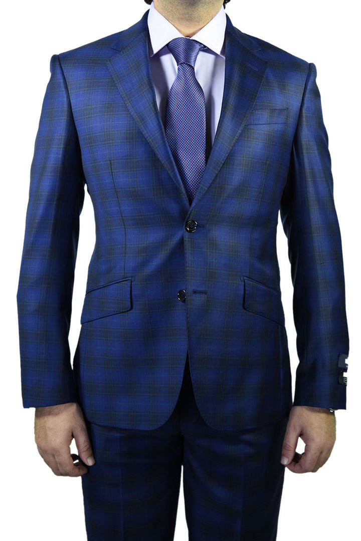 Berragamo Royal Blue Plaid Slim Fit Suit