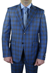 "Berragamo ""Fancy"" New Blue Windowpane Suit"