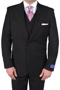 "Berragamo ""Hudson"" Solid Black 2-Button Peak Suit"