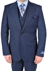"Berragamo ""Hudson"" Solid New Blue 2-Button Peak Suit"