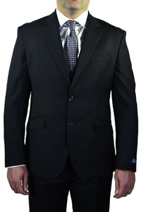 "Berragamo ""Elegant"" Solid Black 3-Piece Slim Fit Suit"