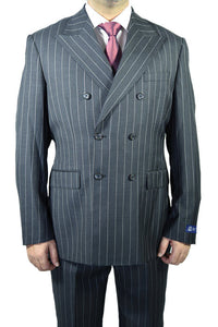 "Berragamo ""Elegant"" Black Double-Breasted Pinstripe Suit"