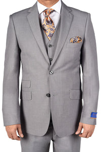 "Berragamo ""Lazio"" Solid Light Grey 2-Button Notch Slim Fit Suit"