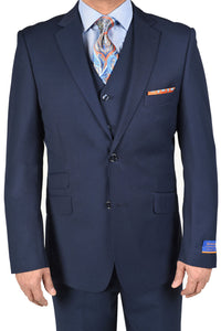 "Berragamo ""Lazio"" Solid New Blue 2-Button Notch Slim Fit Suit"