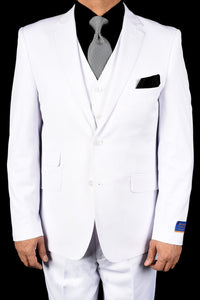 "Berragamo ""Lazio"" Solid White 2-Button Notch Slim Fit Suit"