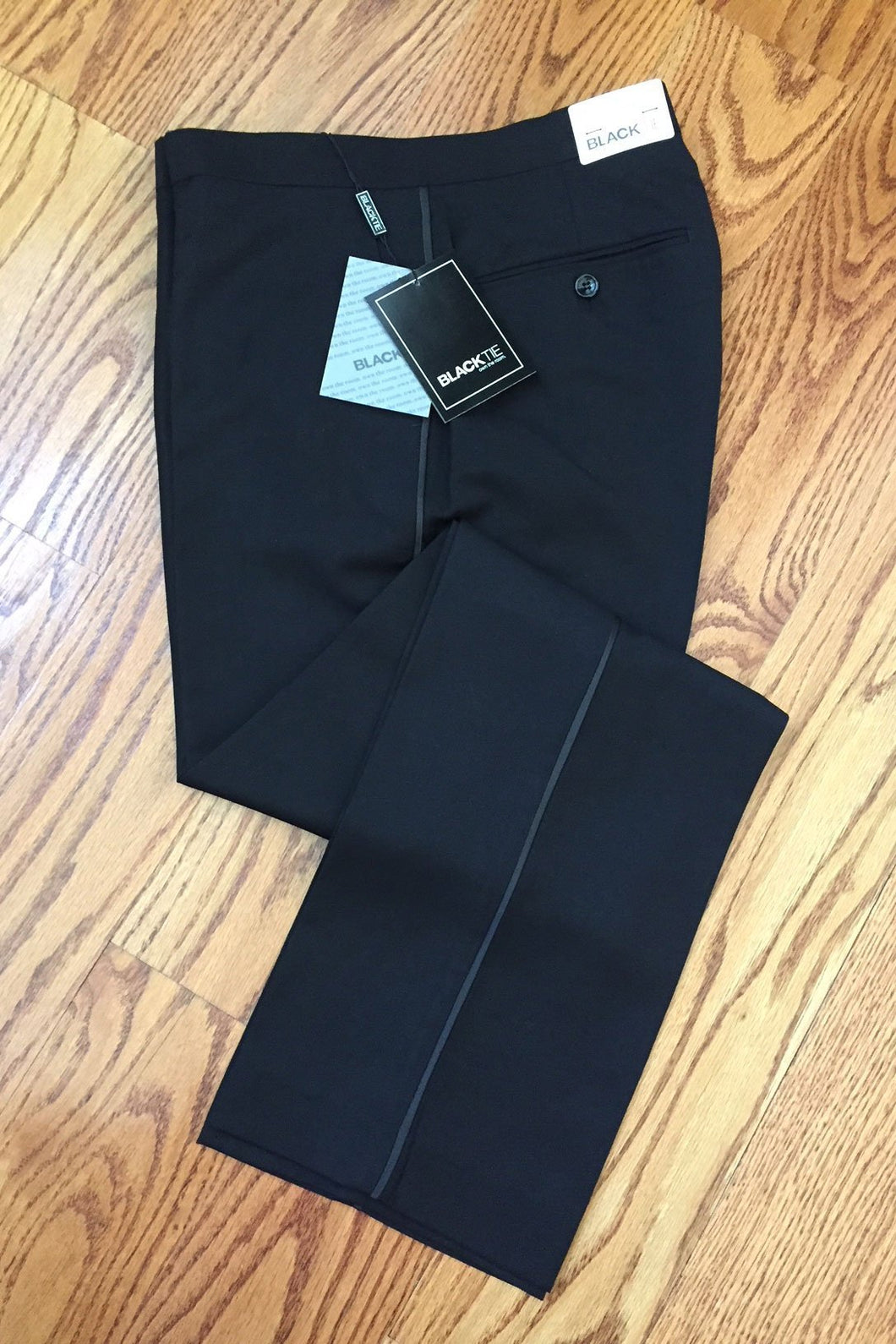 Black Luxury Wool Blend Tuxedo Pants - Unhemmed