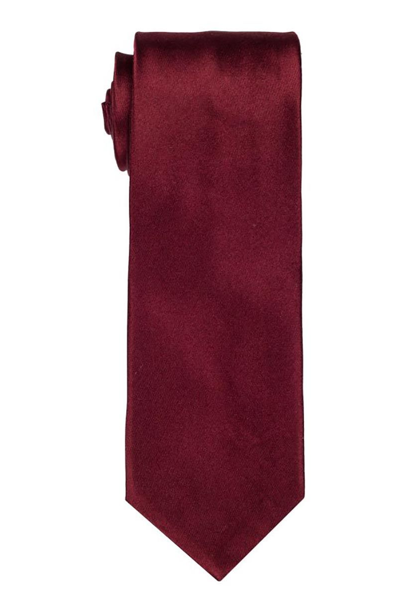 Solid Burgundy Satin Tie