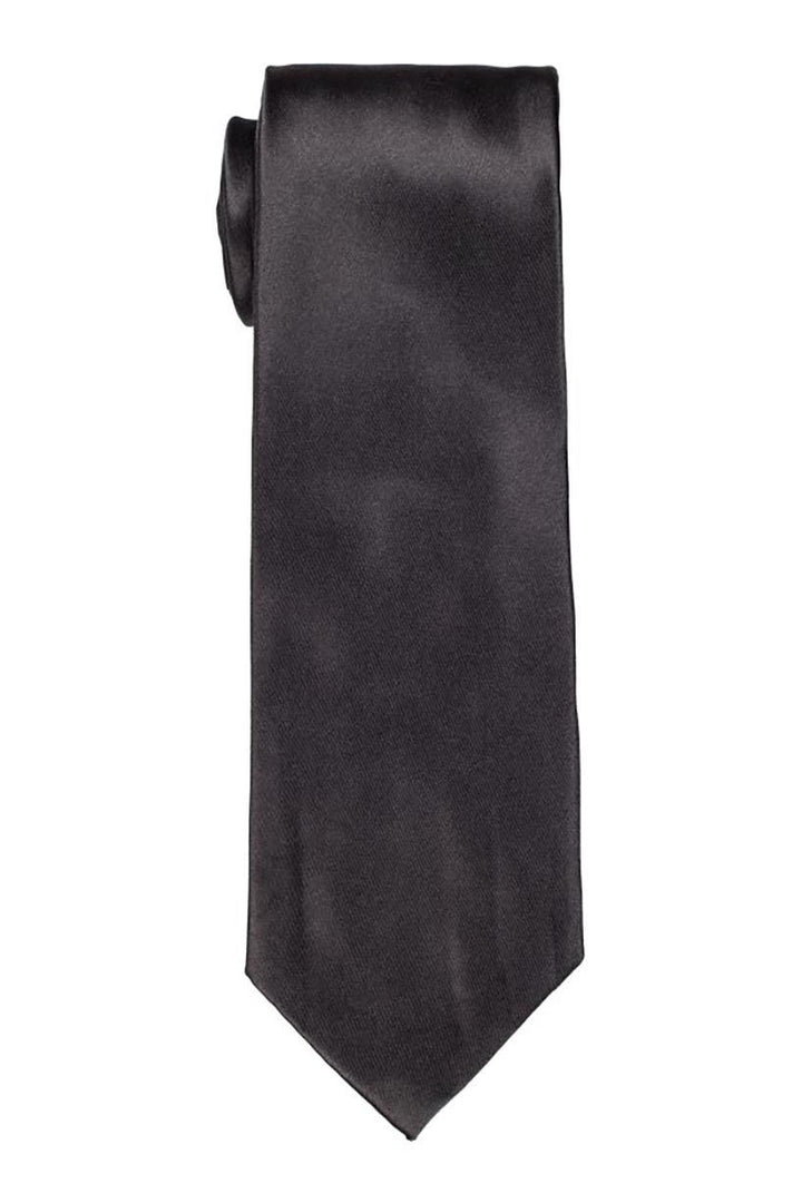 Solid Charcoal Satin Tie