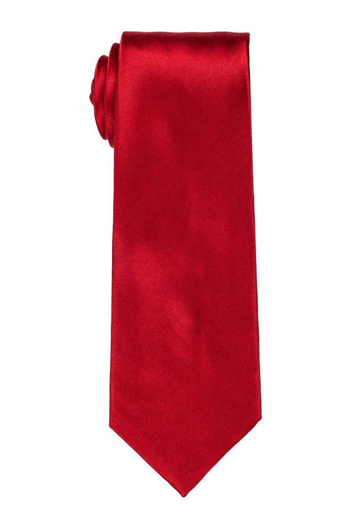 Solid Red Satin Tie