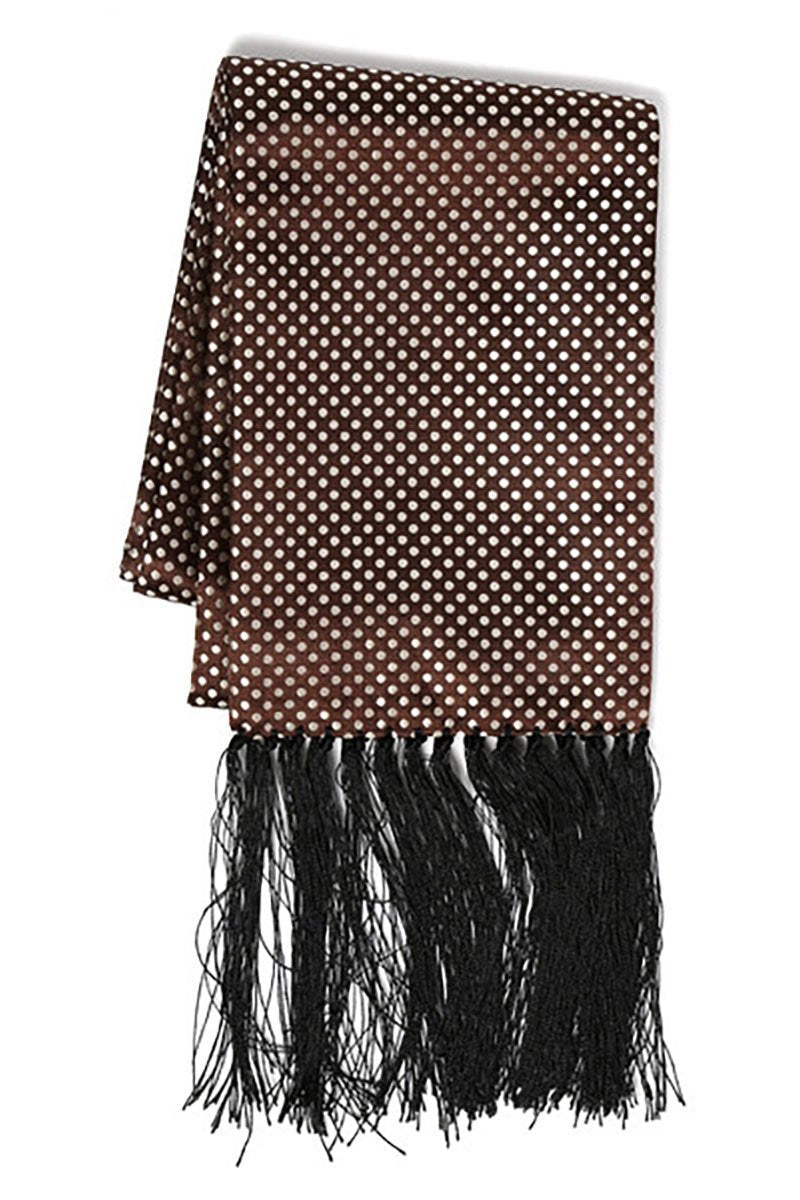 Brown & White Polka Dot Formal Evening Scarf