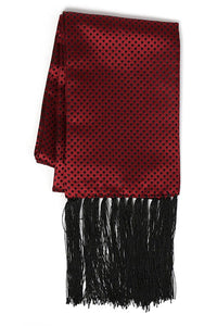 Burgundy & Black Polka Dot Formal Evening Scarf