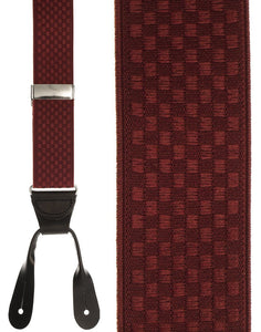 """Burgundy Checkers"" Suspenders"