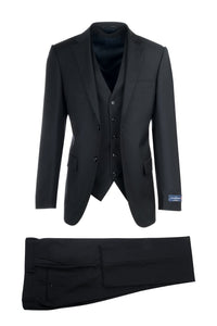 "Canaletto ""Porto"" Ermenegildo Zegna Black Solid Slim Fit Suit"