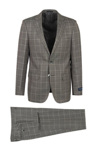 "Canaletto ""Porto"" Guabello Heather Grey Windowpane Slim Fit Suit"