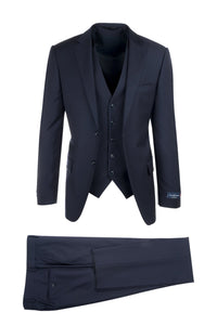 "Canaletto ""Porto"" Ermenegildo Zegna Navy Blue Slim Fit 3-Piece Suit"