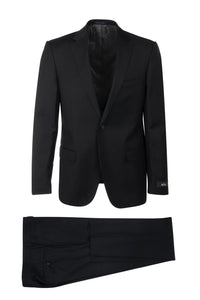 "Canaletto ""Porto"" REDA Wool Black Solid Slim Fit Suit"