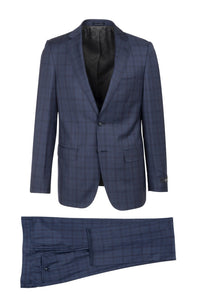 "Canaletto ""Porto"" REDA Wool Blue Windowpane Slim Fit Suit"
