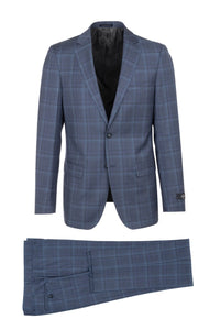 "Canaletto ""Porto"" REDA Wool Denim Blue Windowpane Slim Fit Suit"