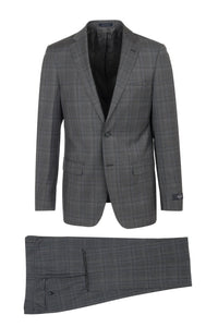 "Canaletto ""Porto"" REDA Wool Grey Windowpane Slim Fit Suit"