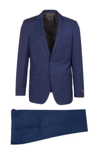 "Canaletto ""Porto"" REDA Wool New Blue Windowpane Slim Fit Suit"