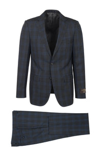 "Canaletto ""Porto"" Vitale Barberis Charcoal Blue Windowpane Slim Fit Suit"