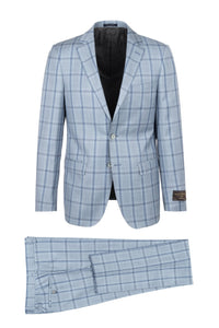 "Canaletto ""Porto"" Vitale Barberis Light Blue Windowpane Slim Fit Suit"