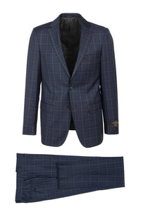 "Canaletto ""Porto"" Vitale Barberis Navy Windowpane Slim Fit Suit"