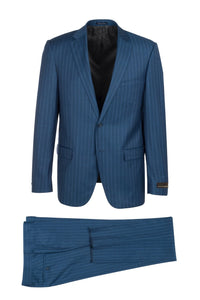 "Canaletto ""Porto"" Vitale Barberis Royal Blue Striped Slim Fit Suit"