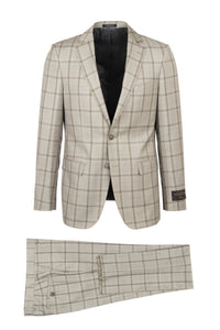 "Canaletto ""Porto"" Vitale Barberis Sand Windowpane Slim Fit Suit"
