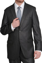 Load image into Gallery viewer, Caravelli Charcoal Sharkskin Suit