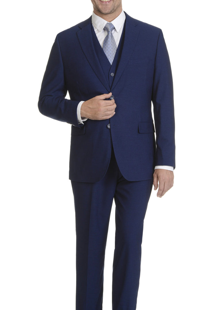 Caravelli Solid Cobalt Vested Slim Suit