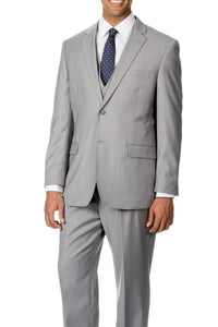 Caravelli Solid Light Grey Vested Slim Suit