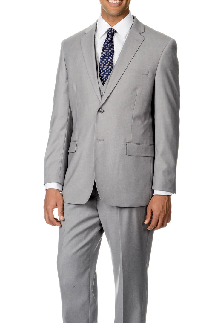 Caravelli Solid Light Grey Slim Suit
