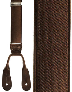 """French Satin"" Dark Brown Suspenders"