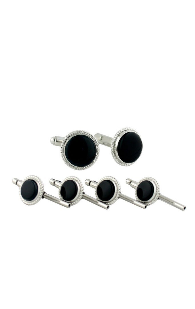 Sterling Silver Onyx Studs & Cufflinks Set
