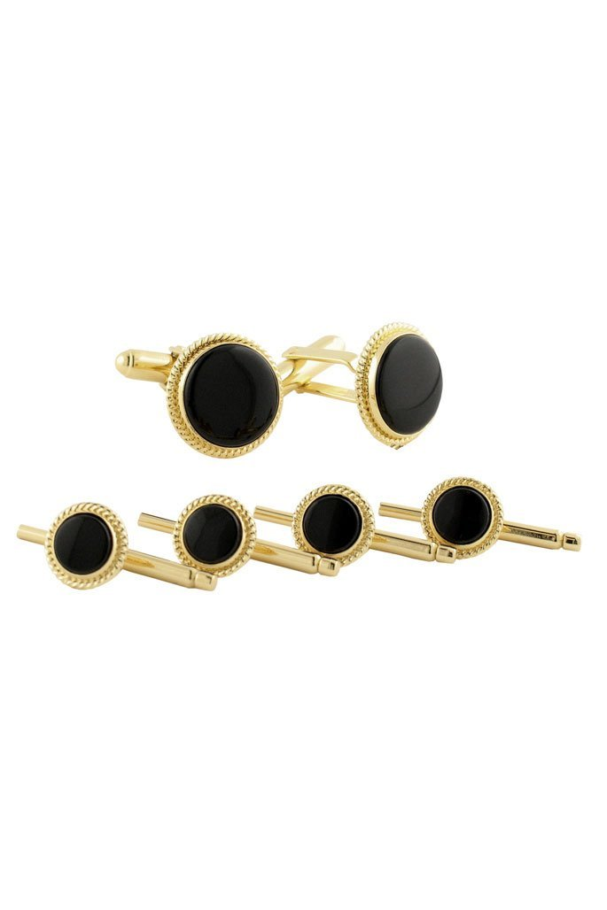 14kt Gold Filled Onyx Studs & Cufflinks Set