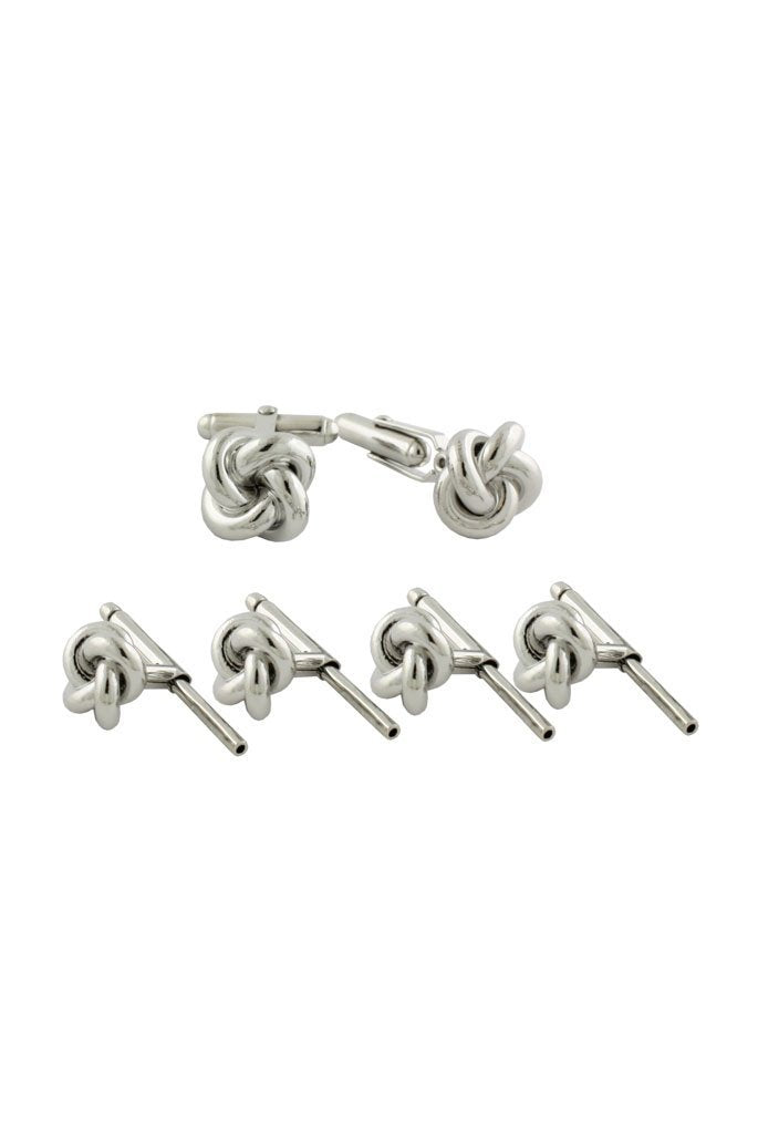 Sterling Silver Knot Studs & Cufflinks Set