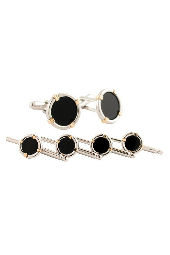 Sterling Silver & 14kt Gold Wire Onyx Studs & Cufflinks Set