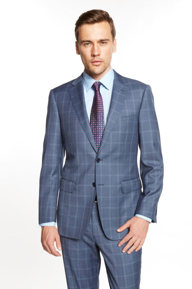 Enzo Blue Grey Windowpane Suit