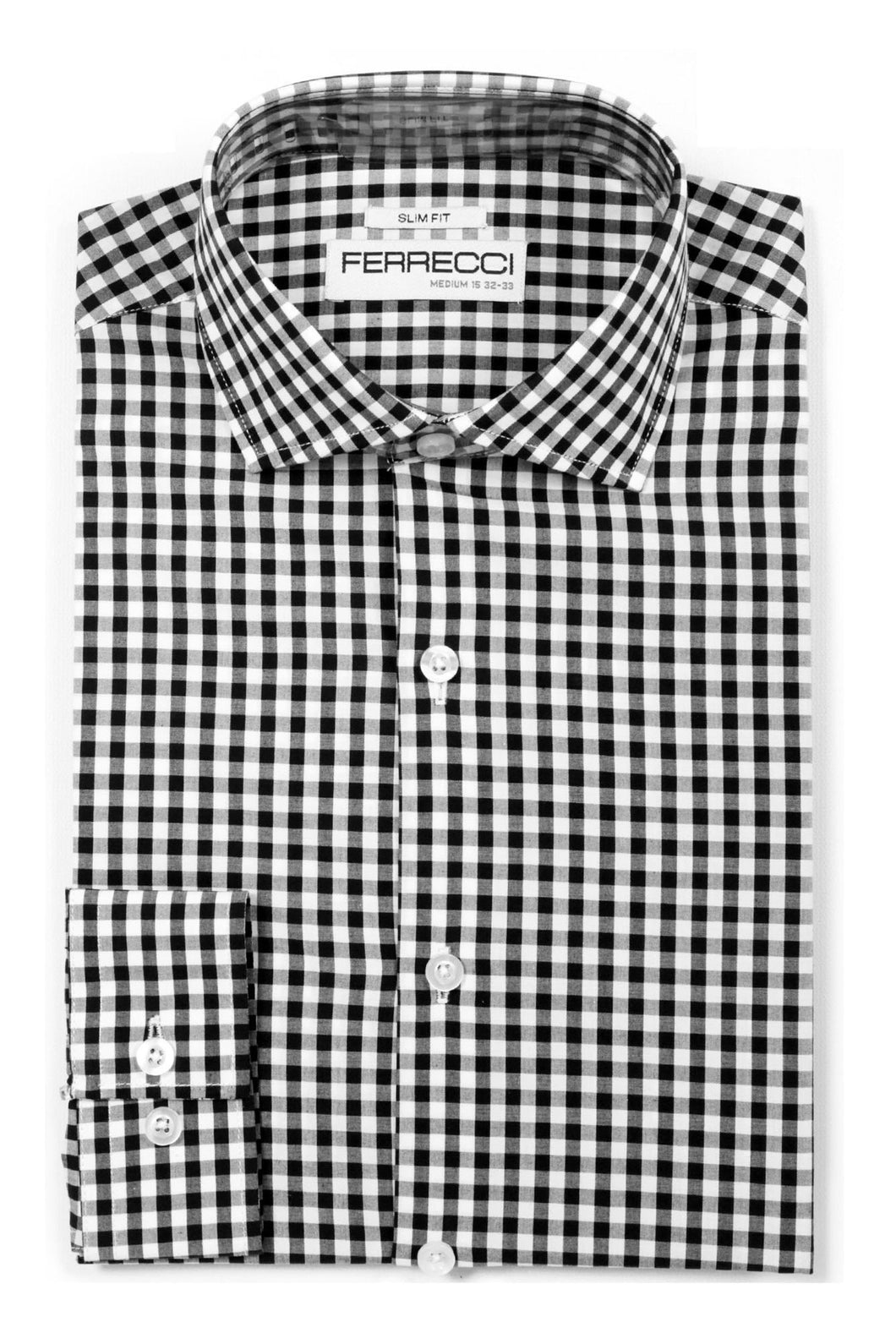 Ferrecci Black Gingham Check Slim Fit Dress Shirt