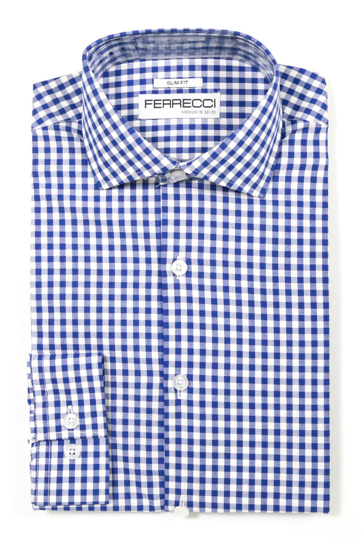 Ferrecci Blue Gingham Check Slim Fit Dress Shirt