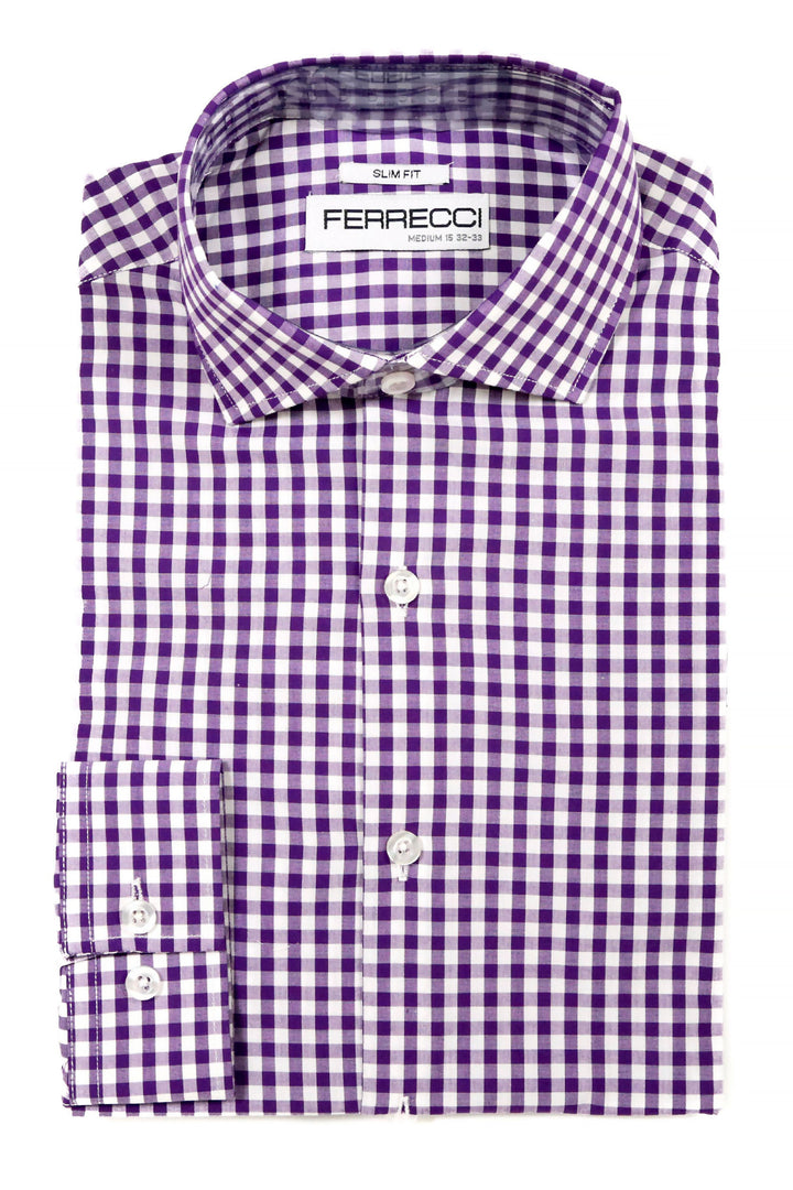 Ferrecci Purple Gingham Check Slim Fit Dress Shirt