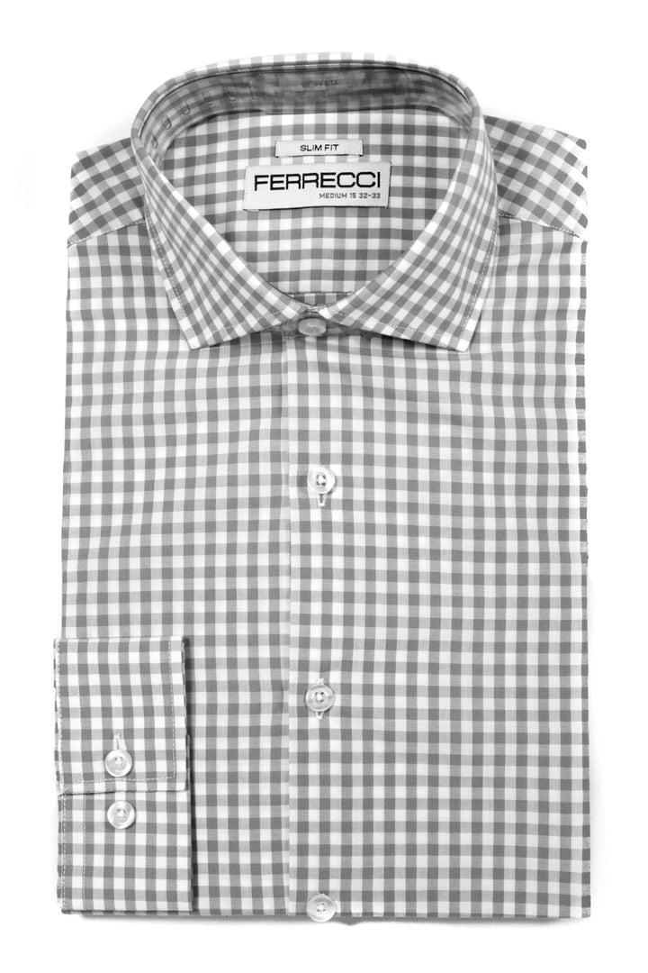 Ferrecci Grey Gingham Check Slim Fit Dress Shirt