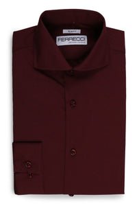 "Ferrecci ""Leo"" Burgundy Slim Fit Dress Shirt"