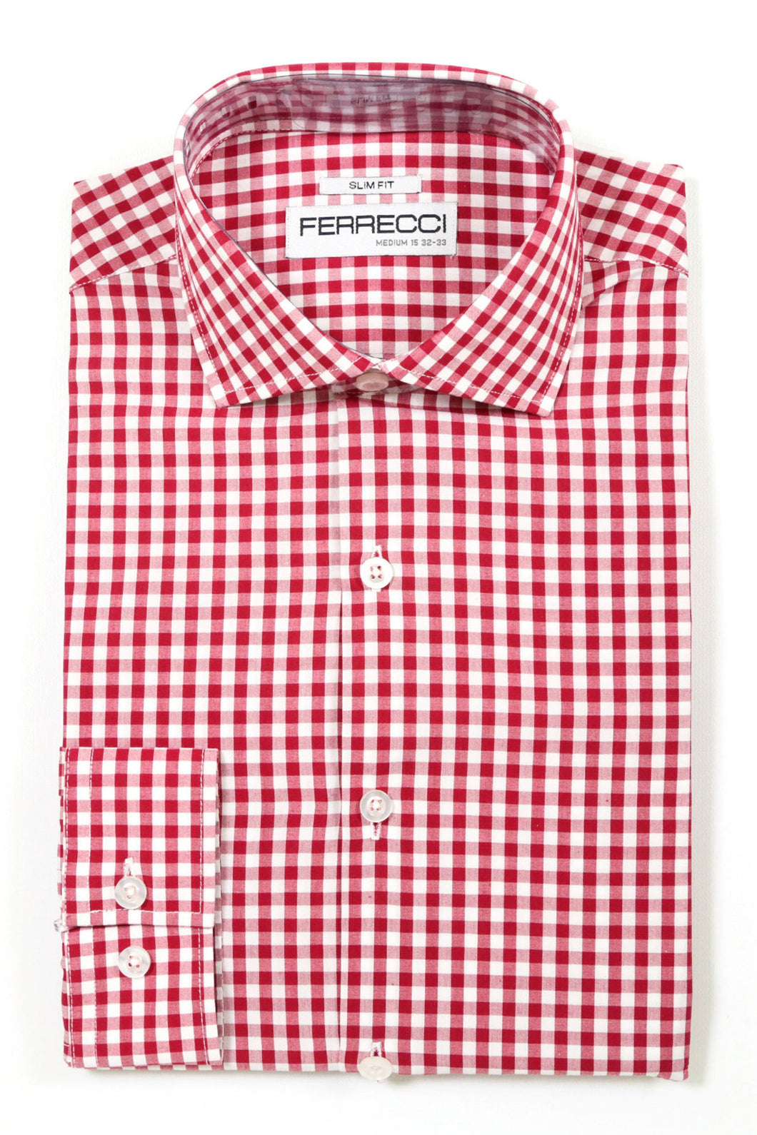 Ferrecci Red Gingham Check Slim Fit Dress Shirt