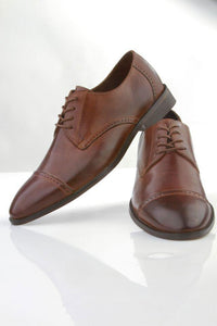 """Windsor"" Brown Frederico Leone Tuxedo Shoes"